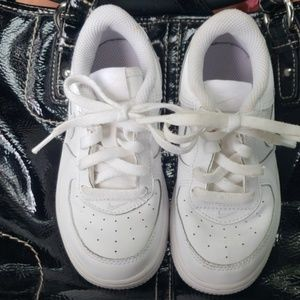 Nike Air Force One shoes- white leather, size 9c